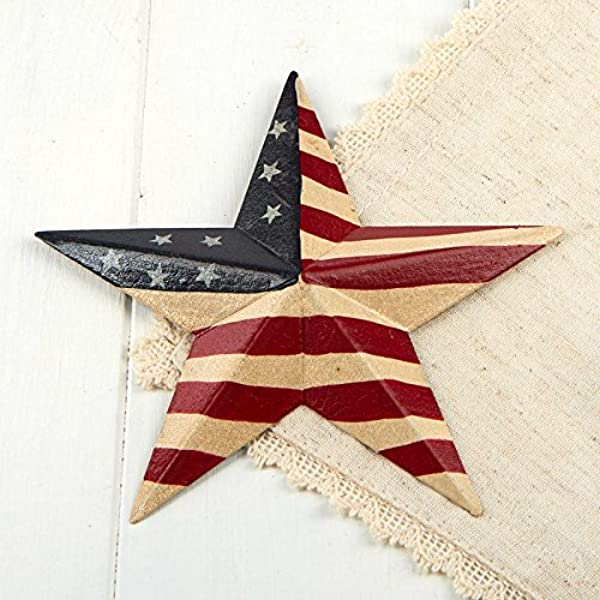 Factory Direct Craft American Flag Painted Tin Barn Stars For Home Decor 4 Stars