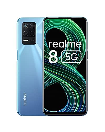 Realme 8 5G (6G+128GB) Dual SIM, グローバル版 SIMフリー, 5G 携帯電話, リフレッシュレート90Hz, 6.5インチ, 48+2+2MP トリプルカメラ, 5000mAh Fast charging 18W, NFC (Supersonic Blue/ブルー)