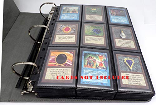docsmagic.de 3-Ring Premium Album Black + 50 18-Pocket Sideloading Pages - Raccoglitore per Carte da Gioco collezionabili + Pagine - Nero - PKM - YGO - MTG