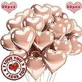 Sunshine smile 20 STK 18 Rosegold Zoll Herz Folienballon,Herz Helium Luftballons,Folienballon Hochzeit ,Folienluftballon,Herz Ballons (Rosegold)