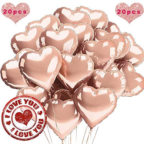 Sunshine smile 18 Zoll Herz Folienballon Rosegold, 20 Stück Herz Helium Luftballons, Folienballon Hochzeit, Folienluftballon, Herz Ballons, Heliumballon