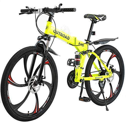 PanAme Folding Mountain Bikes, 21 Speed Shining SYS Double Disc Brake, Full Suspension 6-Spoke 26 Inches Anti-Slip Bicycle for Man/Woman/Teen, Yellow
