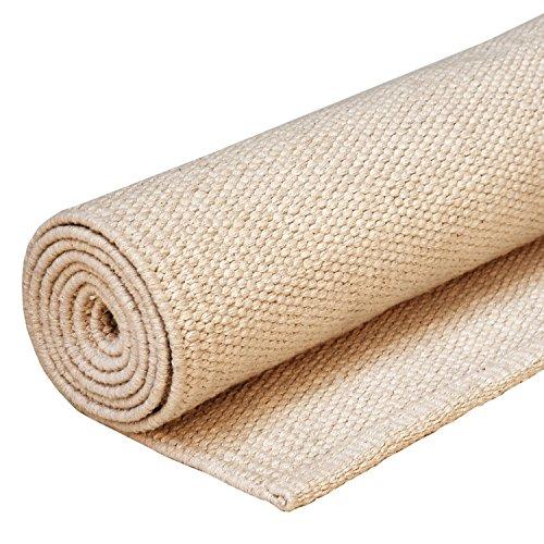 YOGA RUG Yoga-Teppich aus Baumwolle, natur, 200 x 71 cm, Mysore Yoga-Rug, Auflage aus Naturmaterial für Ashtanga oder Hot Yoga Matte, Natur-Material