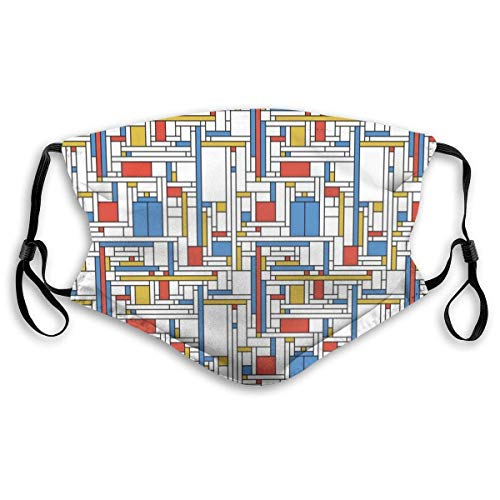 Xuwei Mondrian Blue Box Neoplasticst - Máscara para adultos, para deportes, compras, pesca, equitación, viento y calor, etc.