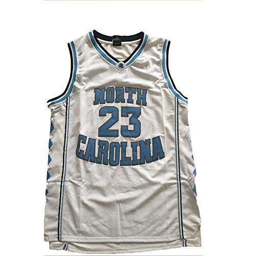 XXJJ Jordania 23# Camiseta de baloncesto de Carolina del Norte, ropa de aficionados al baloncesto unisex, camisetas deportivas bordadas sin mangas (S-XXL), color blanco