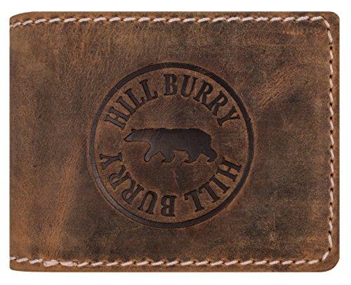 Hill Burry Herren Ledergeldbörse | Geldbörse aus echtem Leder | Echtleder Männer Geldbeutel | schlanke Vintage Brieftasche | Großes Portemonnaie mit RFID-Schutz - Querformat (Braun Matt)