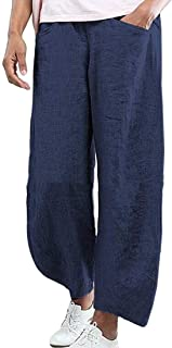 Hokny TD Women's Wide Leg Casual Linen Straight Solid Palazzo Pants Pink X-Small
