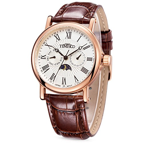 Time100 Orologio da polso da uomo, cinturino in pelle colore marrone...
