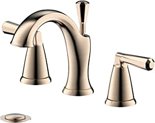 Enzo Rodi Bathroom Faucet, Two-Handle 3 -Holes Widespread Bathroom Sink Faucet with Lift Pop Up Drain Assembly, Champagne Bronze, Certified by UPC,AB 1953 Lead-Free, NSF Standrard, ERF2212254HR-10