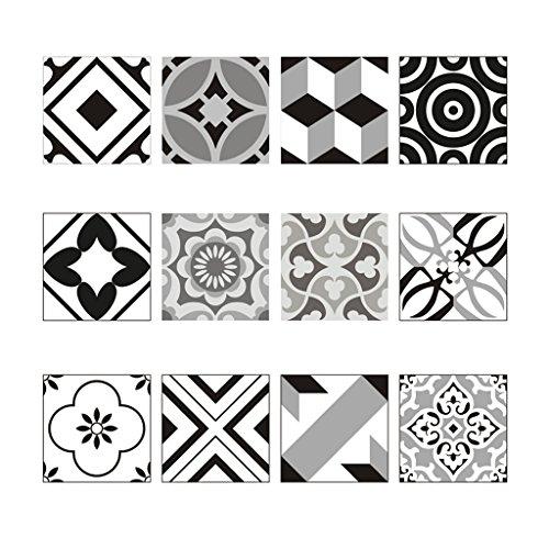 Amuzocity 12 Piezas de Mosaico de Azulejos de Piso de Pared Pegatina Calcomanía Cocina Baño Impermeable - F, Individual