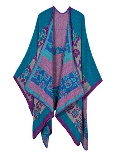 Bestgift dames poncho capes geruit capes patchwork omslag doek gebreide jas zee blauw + bloemen eenheidsmaat