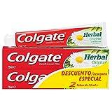 Colgate Herbal Original, Pasta de Dientes para Dientes y Encías, Blanco, 75 Mililitros, 2 Unidades