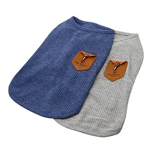 YAODHAOD Camiseta Minimalista para Perros, Ropa para Perros, Azul y Gris, 100% Algodón, para Mini Perros, Perros Pequeños y Gatos (2 Paquetes) (XXL-Schnauzer y Corgi Imágenes, Azul y Gris)