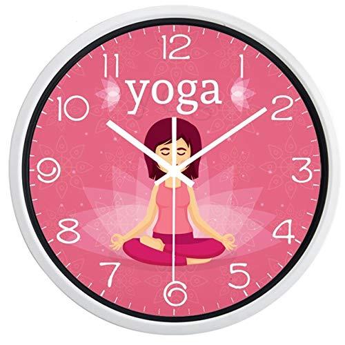 Reloj de Pared Yoga Girl Reloj De Pared Diseño De Marca Mujer Estilo Europeo Decoración Reloj De Pared Novedad Color Reloj Deportivo 12 Pulgadas B274W