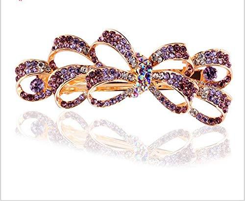 Asien Femmes Multi Bowknot En Forme de Strass Barrette Pince à Cheveux Accessoire Violet