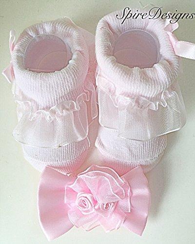 Con mangas para bebé ropa de descanso para niñas intercambiables para bebés recién nacidos de color rosa seda para mujer de cristal en forma de par de calcetines para ciclismo y a juego para ampliar el cinta para la cabeza - 0-6 los meses de
