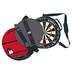 Unicorn Eclipse Pro dartboard Unicorn OcheMate for precise set-up Unicorn short mat Oche Dartboard mounting with adjustable door fixing and external safety warning notice Complete with specially designed convenient carry bag