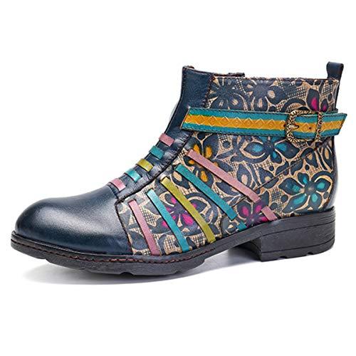 Socofy Invierno Mujer Botas de Nieve Cuero Botines Zapatos de Mujer 2019 Botas Retro Moda Casual Cremallera Lateral Zapatos Boots Ocasional Anti Deslizante Zapatos de Invierno Al Aire Libre