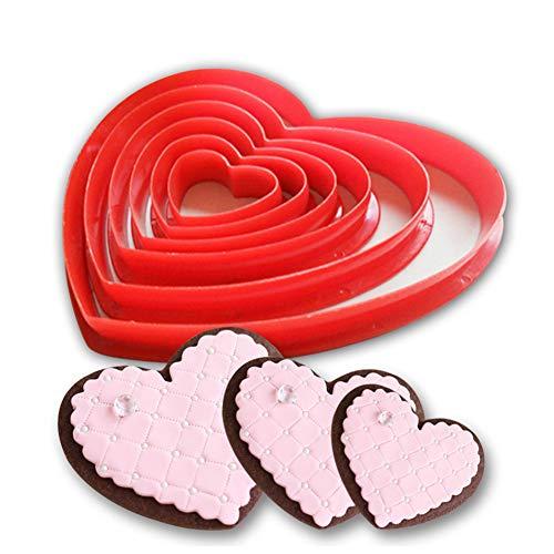 Rocita 6pcs / Set de la Torta del silicón Molde del Cortador en Forma de corazón de plástico...