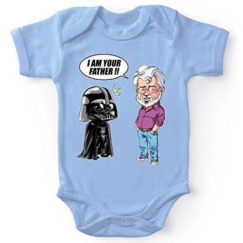 Body bébé Bleu Star Wars parodique Dark Vador et George Lucas - I am Your Father : Un père Pas si Inconnu Que ça. : (Version Originale) (Parodie Star Wars)