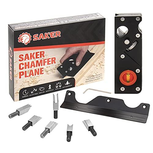 Saker - Piallatrice per smussatura (6 testine extra tagliere) la lavorazione del legno e l'appiattimento degli angoli con localizzatore ausiliario,...