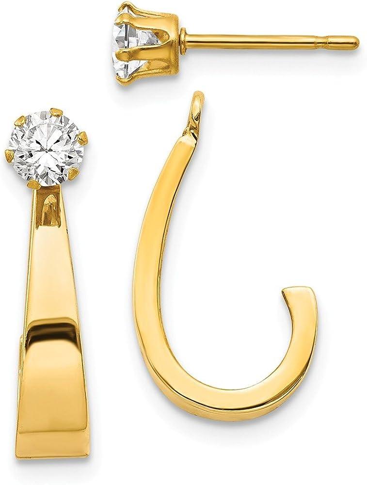 14k Yellow Gold J Hoop with CZ Cubic Zirconia Stud Earring Jackets - 21mm x 4mm