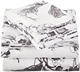Amazon Brand – Pinzon Signature 190-Gram 100% Cotton Heavyweight Velvet Flannel Bed Sheet Set, Queen, Floral Graphite
