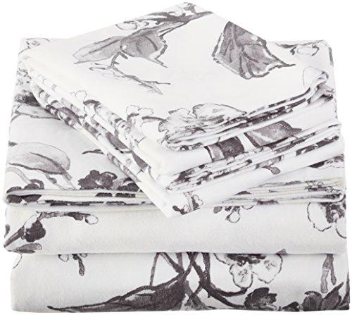 Pinzon Signature Bettwäsche-Set, 190 g/m², 100 % Baumwolle, schweres Samt, Flanell, Queensize, Blumenmuster Graphit
