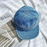 Sombrero de lengua de pato mujer ecuestre japonesa moda antigua mezclilla vintage gorra de béisbol de ala corta-Ajustable_Azul vaquero