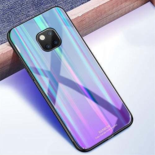 Kkkie Hülle kompatibel Huawei Mate 20, Tempered Glass Stoßfest Back Case TPU Bumper Dünn Farbverlauf Schutzhülle Kratzfest Protective Handyhülle kompatibel Huawei Mate 20 Pro (Schwarz, Mate 20 Pro) - 2