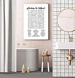 tgbhujk Decoración de Arte de Pared de baño Interesante Oferta de señalización de baño Cartel de Lienzo en Blanco y Negro Minimalismo Pintura Decoración de impresión 42X60Cm Sin Marco