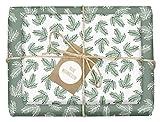 4x Geschenkpapier Weihnachten: grün-weiße Tannenzweige | hochwertige,...