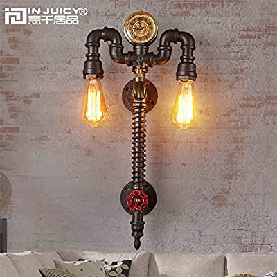 Injuicy Lighting Loft Retro Industrial Clock Metal Water Pipe Steampunk E27 Edison Wall Lights Sconces Vintage Wrought Iron Watch Wall Lamps Fixtures for Bedside Cafe Bar Balcony Dining Rooms Decor