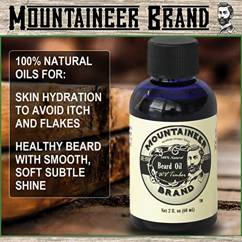 Mountaineer Brand Natural Beard Oil-WV Timber 2 Oz.-TWICE THE SIZE OF MOST by WV Timber Natural...