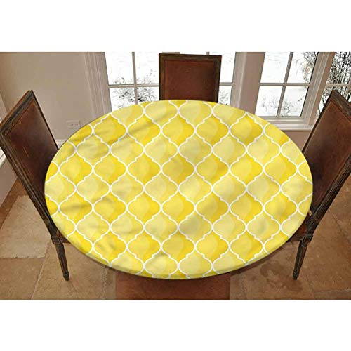 LCGGDB Yellow Elastic Edged Polyester Fitted Tablecolth -Ancient Moroccan Trellis- Large Round Fitted Table Cover - Fits Tables up to 45-56' Diameter,The Ultimate Protection for Your Table