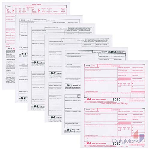 W2 Forms 2020 6-Part Kit Tax Forms for 25 Employees and W-3 Transmittal for QuickBooks and Accounting Software, 2020 W2 Forms
