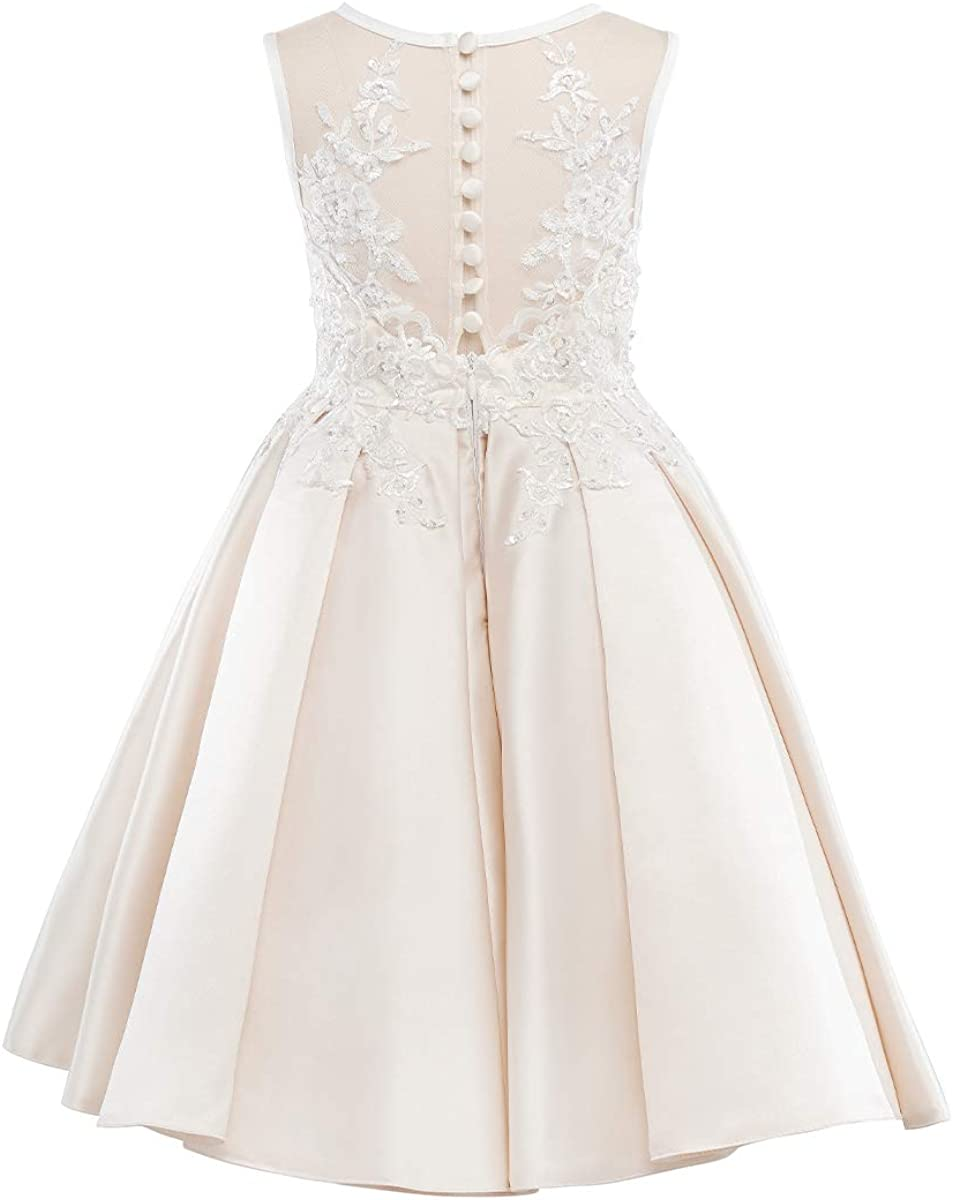 Miama Beaded Lace Satin Wedding Flower Girl Dress Junior Bridesmaid Dress