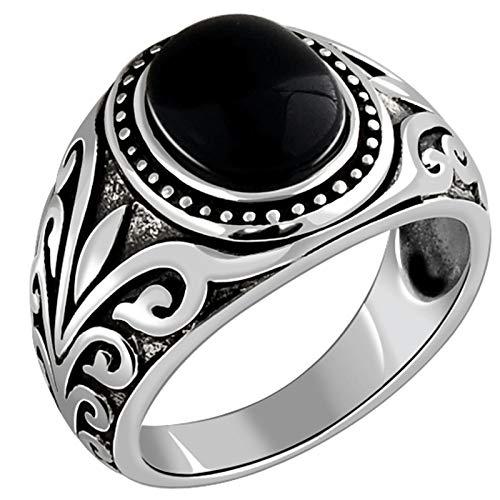 ANAZOZ Ring 925 Herren Ovaler Achat Ring Vintage Filigran Ring Ring Breit 925 Silber Verlobungsring Siegelring Herren Fasching Punk Ring Black Silber Punk Schmuck für Männer Größe:60 (19.1)