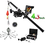 Extaum Underwater Fishing Video Camera Kit 4.3 Inches Color Monitor 8 Pcs IR LED Lights with Explosion Fishing Hooks 5000mAh Battery