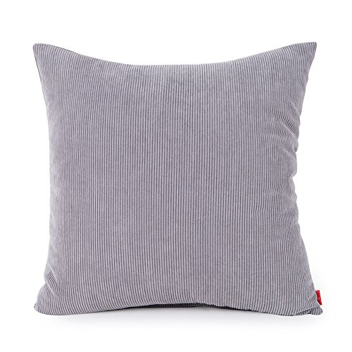 baibu Corduroy Decor Solid Pillow Cover (8 Colors and 8 Sizes) Multi Size Cushion Cover for Sofa Light Grey 50x50 cm/20x20 inch