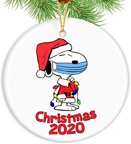Baolyda 2020 Christmas Ornament Snoopy Wearing Màsk Meaningful Xmas Decoration for Gifts Tree Home