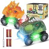 Dinosaurio Coche, 2 Coches de Juguetes de Dinosaurios con Luces LED y Sonidos, Divertidos Dino Cars Regalos Cumpleaños para Niños Niñas de 3+ Años