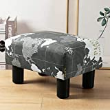 Small Rectangle Foot Stool, World Map Footrest Small Ottoman Stool with Non-Skid Plastic Legs, Modern Rectangle Footstools Small Step Stool Ottoman for Couch, Desk, Office, Living Room, Dogs, Gray