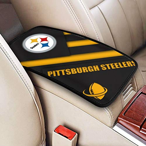 Pittsburgh Steelers Auto Center Console Pad, Durable Soft Car Arm Rest Cushion More Comfortable Driving for Men Women 12.6x7.5inch