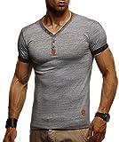 Leif Nelson LN1390 - Maglietta estiva da uomo, scollo a V, vestibilità aderente, in cotone, a maniche corte antracite. XL