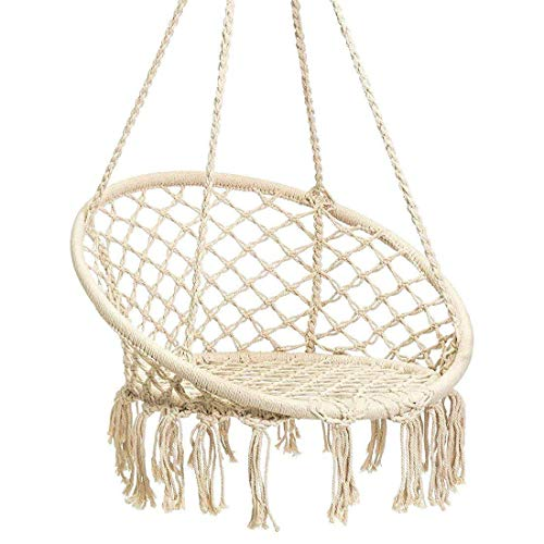 Karriw Hammock Chair Macrame Swing,Cotton Hanging Macrame Hammock Swing Chair Ideal for Indoor,...