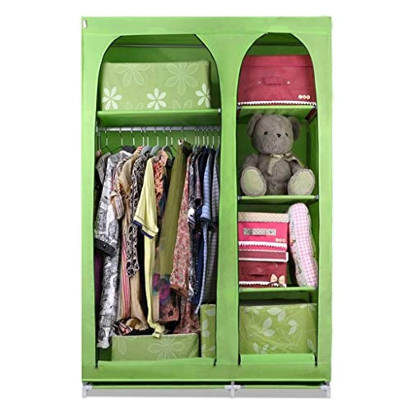 TYUIO Portable Closet Storage Organizer Clothes Wardrobe Shoe Rack Shelves(Size: 104x44x160CM) (Color : Colour B)