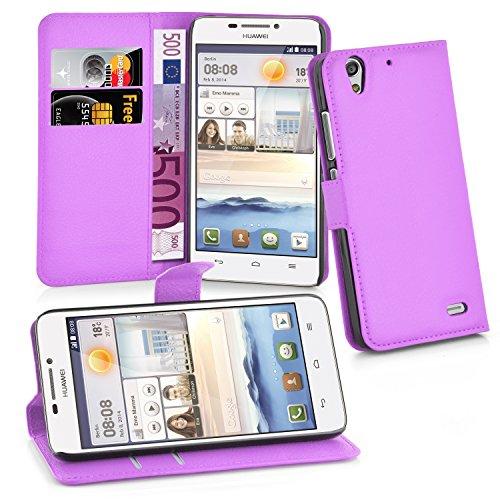 Cadorabo Hülle für Huawei Ascend G630 Hülle in Mangan Violett Handyhülle mit Kartenfach & Standfunktion Hülle Cover Schutzhülle Etui Tasche Book Klapp Style Mangan-Violett