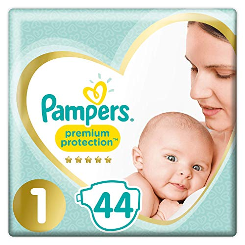 Pampers Couches Premium Protection Taille 1 (2-5 kg) notre N°1 pour la protection des peaux sensibles, Aide à protéger le ventre délicat de votre nouveau-né, 88 Couches (2 x 44)