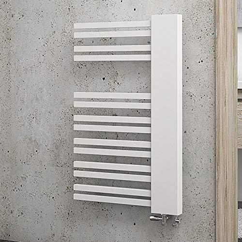 Schulte H023008 04 Badheizkörper Bologna, 81 x 50 cm, 387 Watt Leistung, Anschluss unten rechts, alpinweiß, Heizkörper mit Handtuchhalter-Funktion